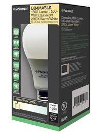 polaroid 100 watt equivilent 2700k dimmable led light bulb at menards