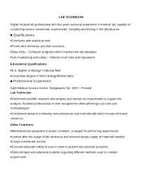 Resume Examples For Medical Laboratory Technician With Sample Clinical Template Resumes Entry