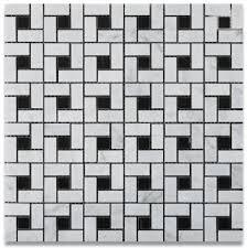 carrara bianco pinwheel polished marble mosaic tile