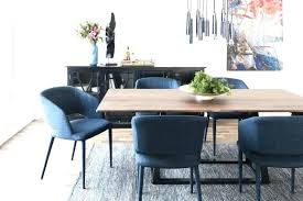 Blue Dining Table Set Room Grey Tufted Chairs Dark