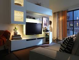 modern white wall mounted media furniture ikea with dim recessed