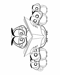Owls Reading Colouring Pages