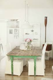 Dining Room Set Up Country Style Green Accents White Chairs Flooring Wood Look