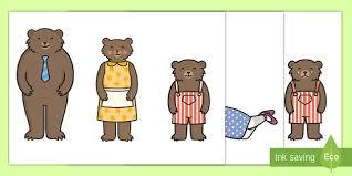 Goldilocks And The Three Bears Stick Puppets