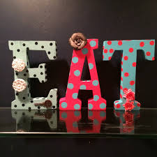 Eat Sign Rustic Metal Letters Kitchen Decor Vintage Block Here