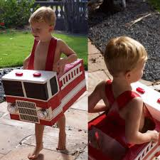 Hudson S Diy Cardboard Firetruck Halloween Costume Built In Treat ...