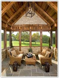 Rustic Traditional Sunroom Slate Floors