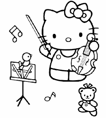 Playing Music Hello Kitty Coloring Page Free