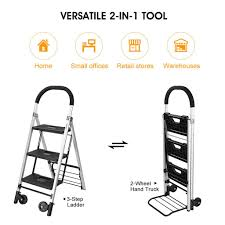 Finether 2-in-1 Convertible Aluminum Folding Step Ladder/Hand Truck ... Hand Trucks Amazoncom Building Supplies Material Handling Milwaukee 3500 Lb Capacity Convertible Truck30152 The Harbor Freight Small Truck Best Resource 50 Luggage Cart With Wheels Travelkart Metal Moving Home Depot Big Mht Shop Mini Multi Handtruck Sydney Trolleys Collapsible Platform Trolley Finether 2in1 Alinum Folding Step Ladderhand Large Cboard Box On Hand Truck In Office Small Boxes Wooden Dolly Nsn 2018 Map And Information Directory Printed Braille Steel Sign For