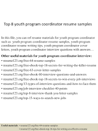 Top 8 Youth Program Coordinator Resume Samples 10 Clinical Research Codinator Resume Proposal Sample Leer En Lnea Program Rumes Yedberglauf Recreation Samples Velvet Jobs Project Codinator Resume Top 8 Youth Program Samples Administrative New Patient Care 67 Cool Image Tourism Examples By Real People Marketing Projects Entrylevel Data Specialist Monstercom