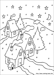 Simple Snow Scene Of Houses And Trees While The Is Gently Falling All Around Them