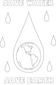 Save Water Earth Coloring Page For Kids New Pages