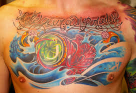 Heart Tattoo Awesome Clover Chest Piece Design