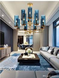 100 Modern Luxury Bedroom Luxury Glass Chandelier Lighting 615 Heads BlueCognac Nordic Hang Lamp Living Dining Room Bedroom Indoor Light Fixture