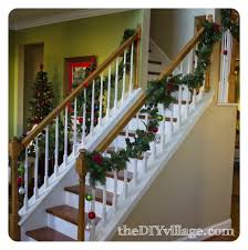 Interior : Christmas Garland For Staircase With Lights Banister ... Christmas Decorating Ideas For Porch Railings Rainforest Islands Christmas Garlands With Lights For Stairs Happy Holidays Banister Garland Staircase Idea Via The Diy Village Decorations Beautiful Using Red And Decor You Adore Mantels Vignettesa Quick Way To Add 25 Unique Garland Stairs On Pinterest Holiday Baby Nursery Inspiring The Stockings Were Hung Part Staircase 10 Best Ideas Design My Cozy Home Tour Kelly Elko