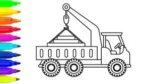 Learn Colors With Construction Truck Colouring Pages Car For Kids Fun Coloring Book Video