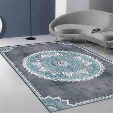 grau blau mandala teppich vintage europa einfache schlafzimmer nacht teppich nordic ethnische stil teppich flur küche teppich matte