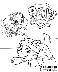 Terrific Skye Coloring Pages Everest And On Printable Paw Patrol Page