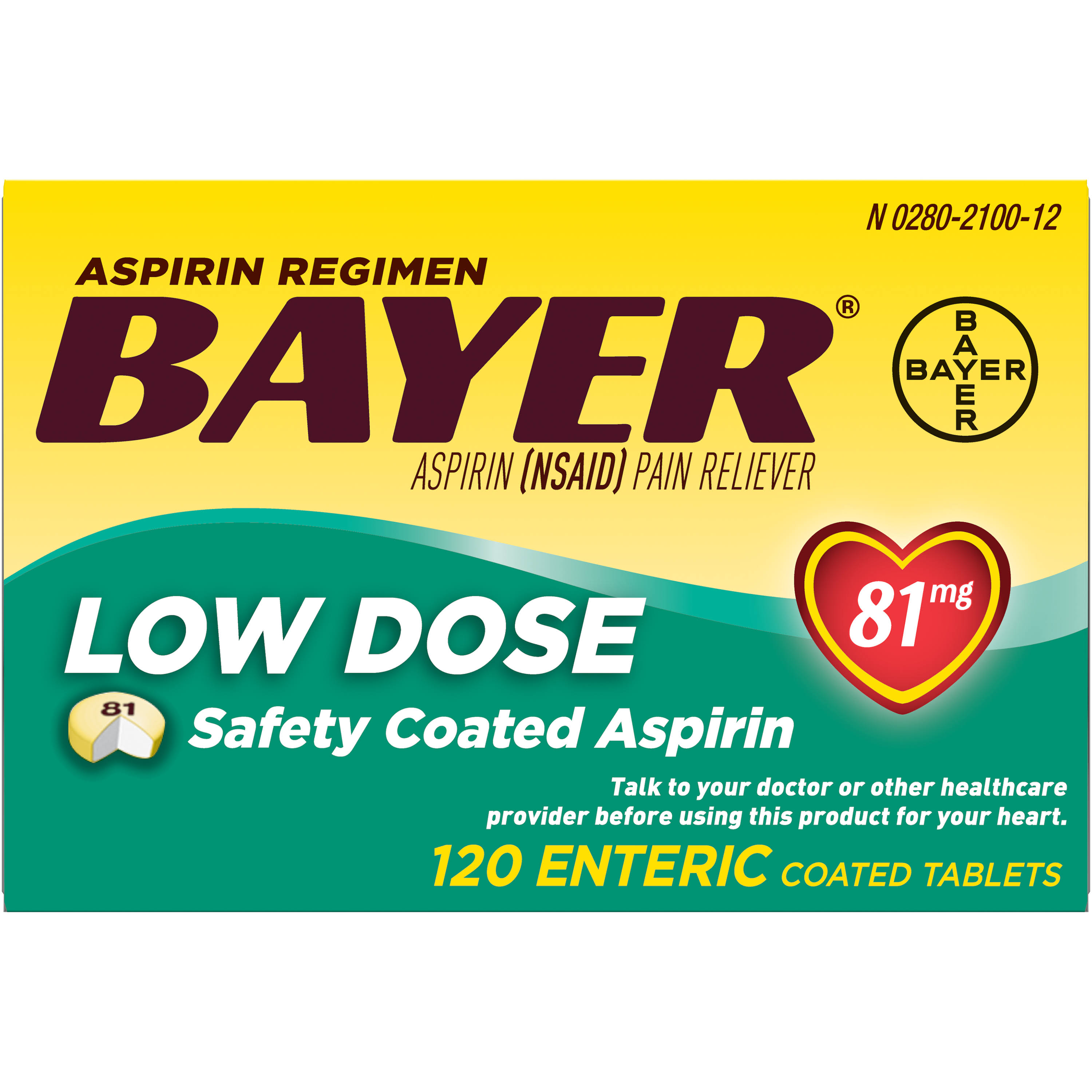 Bayer Aspirin Regimen Low Dose Safety Enteric Coated Tablets - 81mg, 120ct
