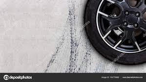 100 Tire By Mark Mark On Concrete Road With Copy Space Stock Photo