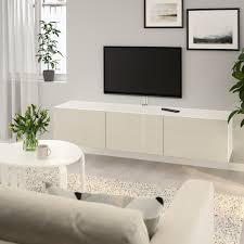 bestå tv bank mit türen weiß selsviken hochglanz beige 180x42x38 cm