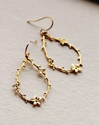 Gold Drop Earrings Twig And Flower Rustic Wedding Jewelry Bridesmaid Gift Woodland