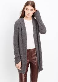 vince hooded shawl collar zip up cardigan in gray lyst