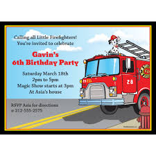 Fire Truck Birthday Party Invitations Free Envelopes Engine Photo ...