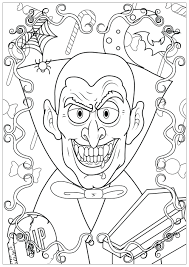 Vampire DHalloween Halloween Coloriages Difficiles Pour Adultes