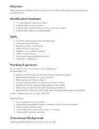 Cashier Job Resume Sample For In Restaurant Retail