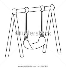 Black White Swing Cartoon Isolated Stock Vector