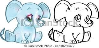 Vectors Illustration Of Elephant Colouring Book
