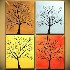 Easy Paintings For Canvases Large Tree Painting Sale Four Modern Abstract Art Original Wall Handmade Copper On