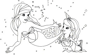 First Coloring Pages Princess Ariel Sofia