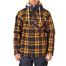 686 reserved axxe flannel insulated snowboard jacket indigo