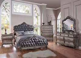Chantelle Collection Antique Silver French Rococo King Bedroom Set 6 Pc