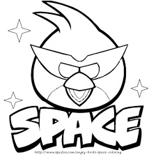 Super Red Angry Bird Space Coloring Page