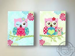 Owl Nursery Decor OWL canvas art Baby Girl Nursery Owl