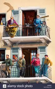bureau rhone alpes murals on bureau of guides building chamonix mont blanc stock photo