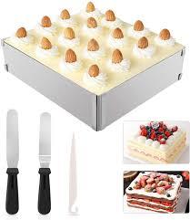 wisfox backrahmen rechteckig verstellba form aus hochwertigem edelstahl backform eckig für kleine und große kuchen torten und pizza zum backen und