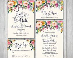 Floral Wedding Invitation Kit Bohemian Flower Boho Suite RSVP Thank You
