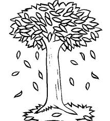 Big Trees In Autumn With Fall Leaf Coloring Page