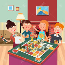 Family Playing Board Game Happy Weekend Vector Illustration Stock