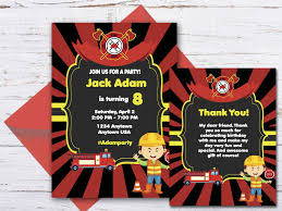 100 Fire Truck Birthday Party Invitations Custom Truck Party Invitation Thank You Card