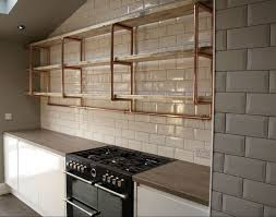 Three Tier Long Shelving Unit For Kitchen 28mm Copper Pipe Reclaimed Pine Boards