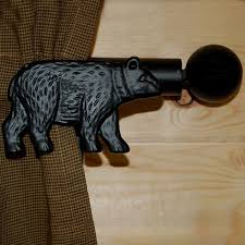 black bear curtain rod and bracket set cabin place