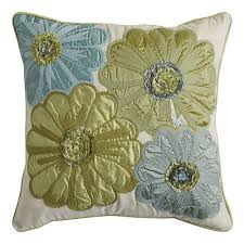 spring meadow embroidered flower blue pillow blue pillows