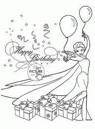 Coloring Download Happy Birthday Card Printable Pages With Elsa Page
