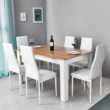 Details About Wooden Dining Table Set W/6 Faux Leather Chairs Seat Kitchen  Furniture Oak&White