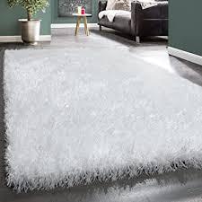 paco home moderner wohnzimmer shaggy hochflor teppich soft garn in uni weiß grösse 160x230 cm